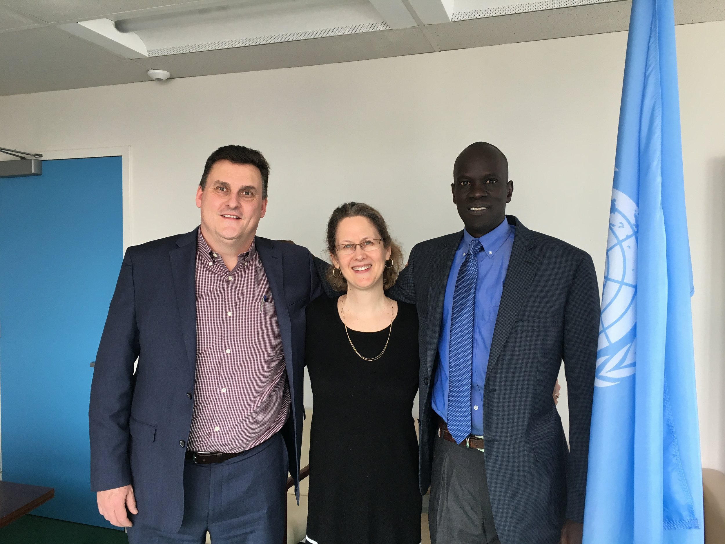 SALVA DUT, lYNN MALOOLY, AND WILL KENNEDY AT THE UN IN NEW YORK CITY.