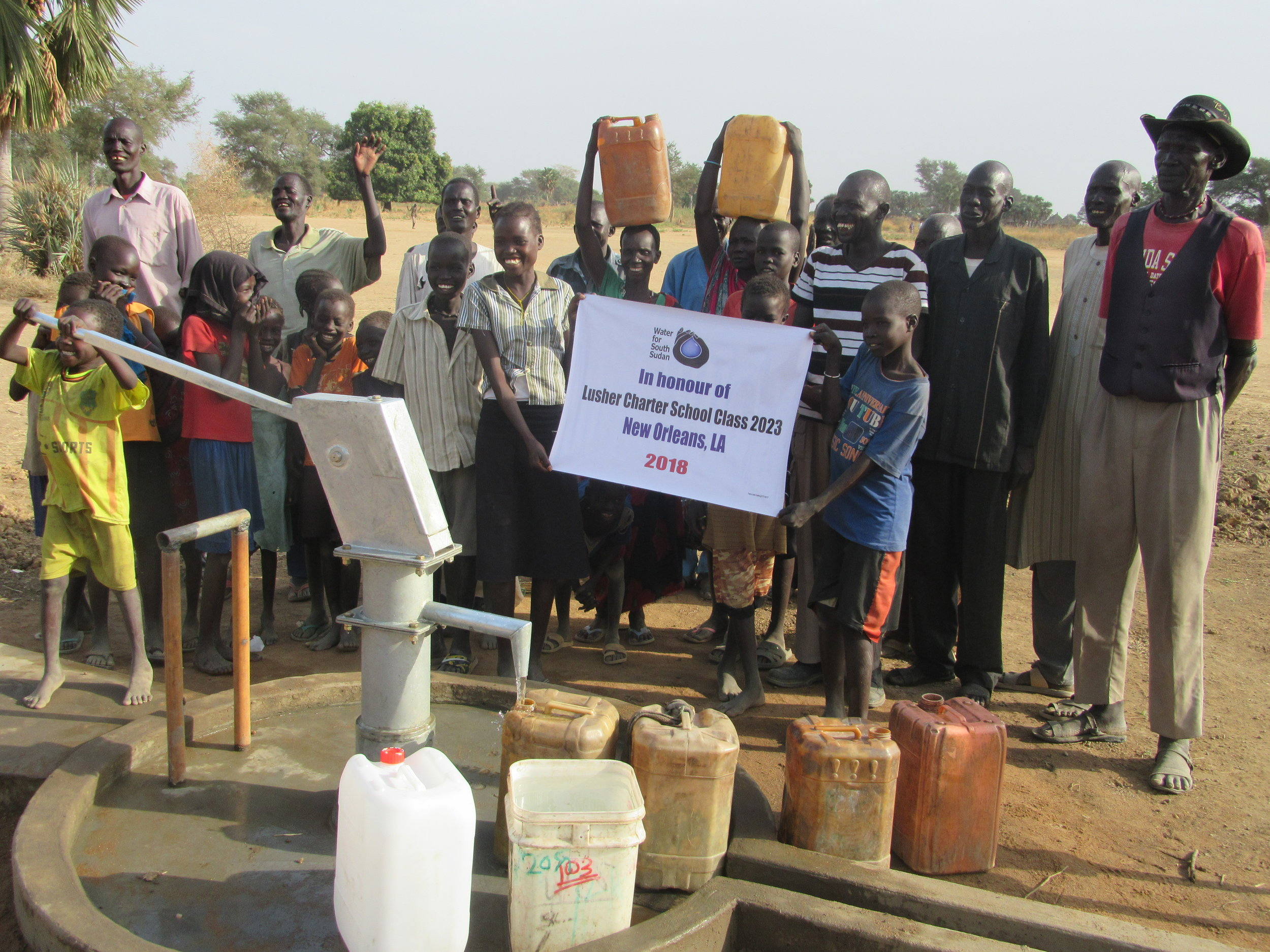 community members in Mabil village in aweil east state celebrate a new well