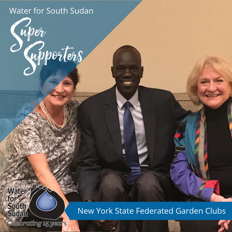 Lucille Bauer, left, and Lyn Pezold, of NYS Federated Garden Clubs with Salva in NYC.