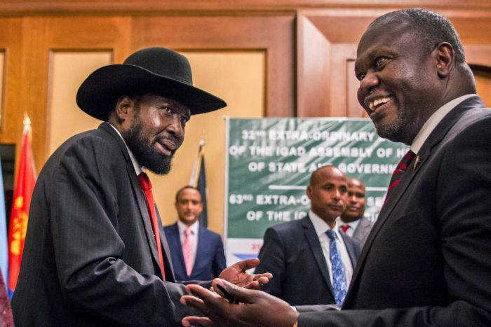 President Salva Kiir and opposition leader Riek Machar.  Source