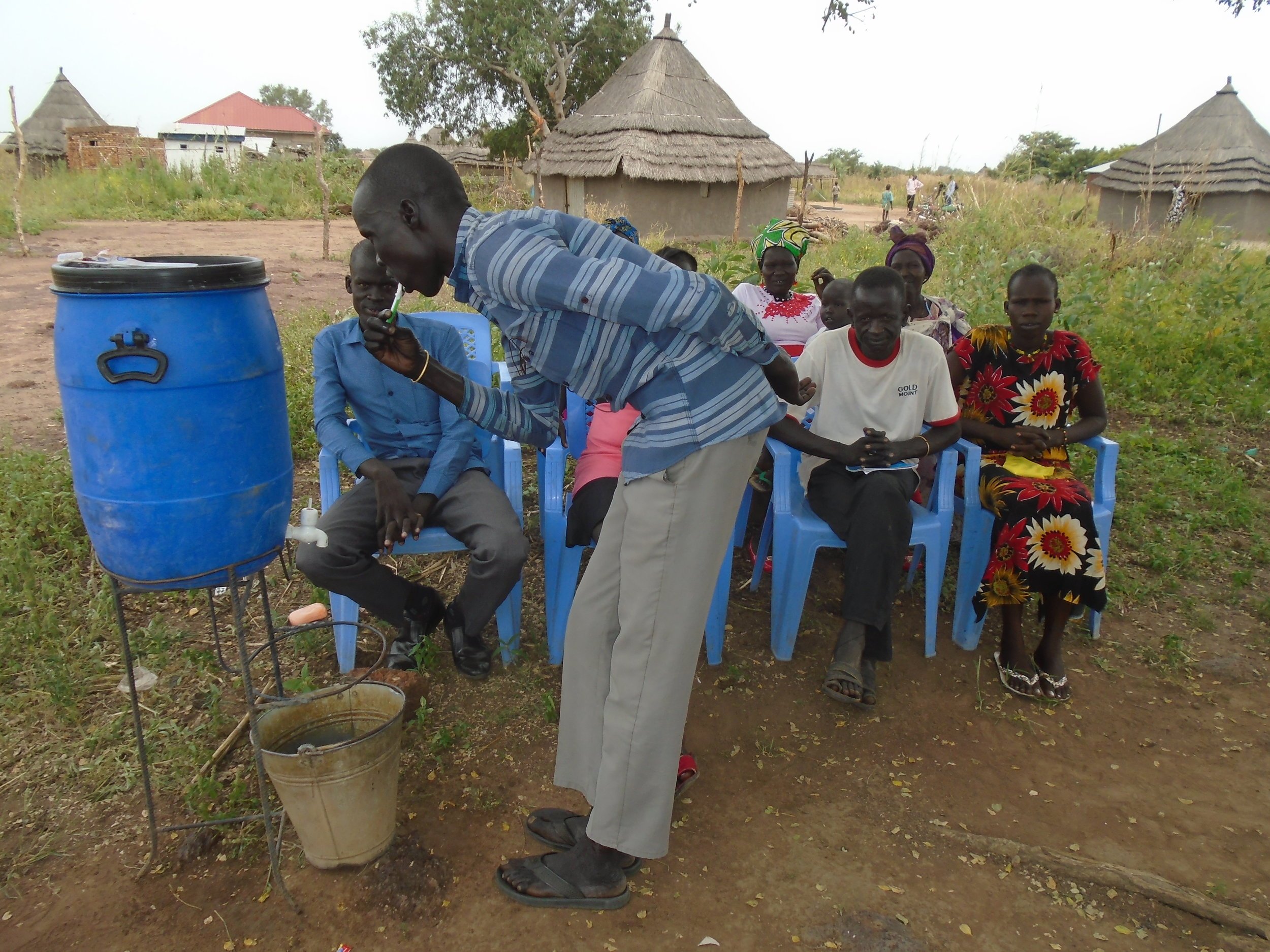 The WFSS Hygiene Teams travel to all villages with drilling and rehab teams to teach hygiene education, including personal hygiene.