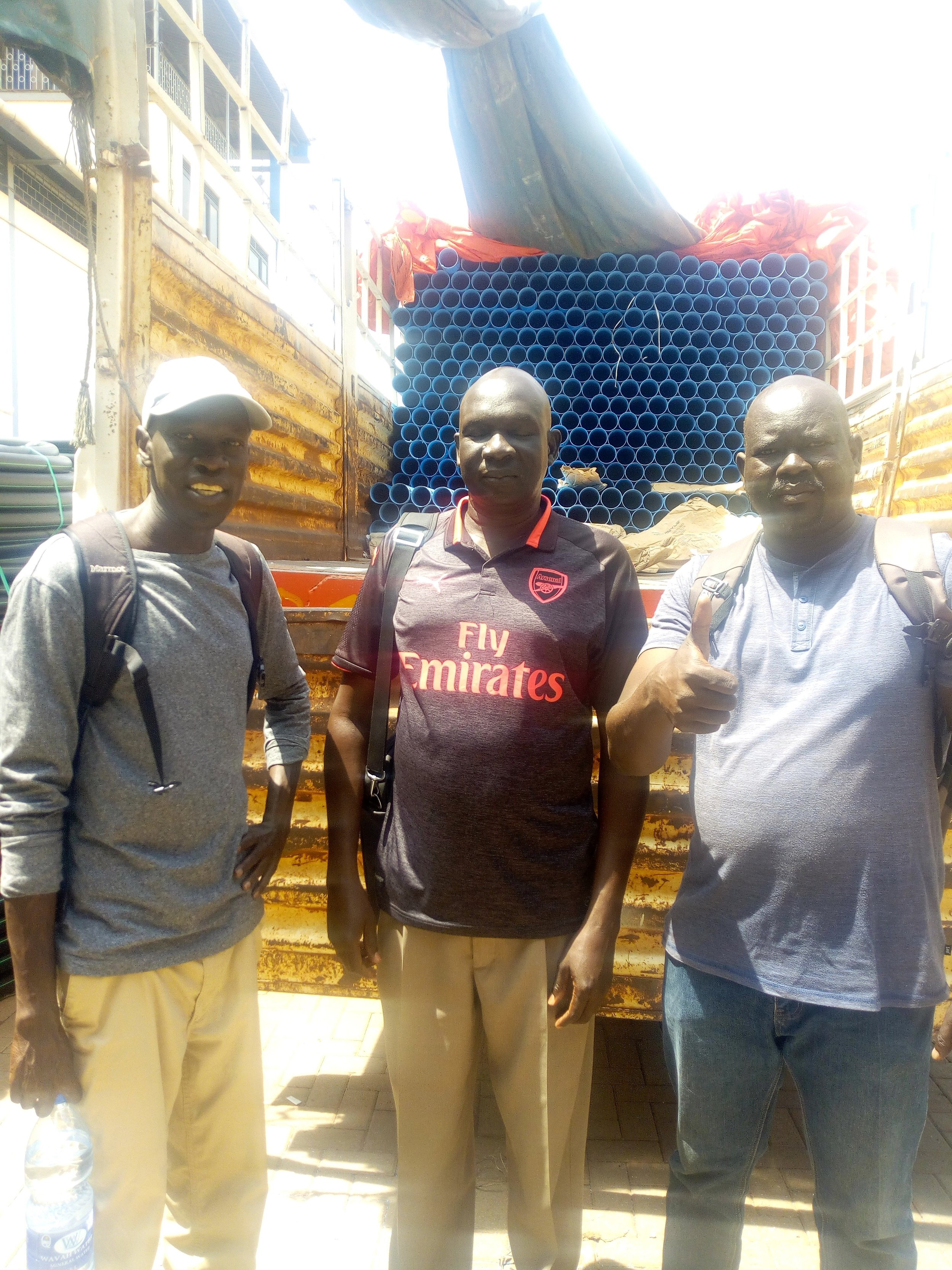 Salva, Lion and AJ in Kampala, buying supplies for the 2018-19 seaspn.