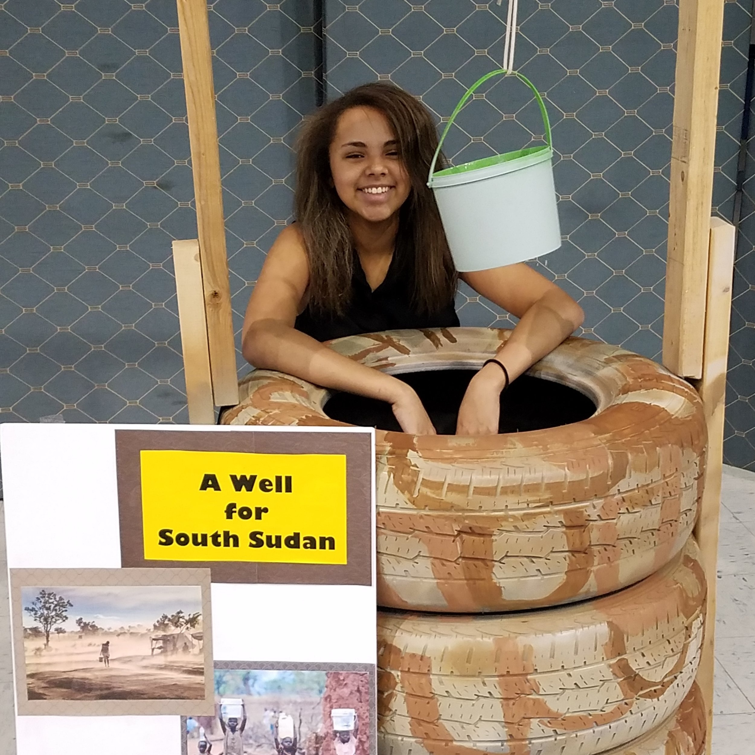 There are always new ways to raise awareness and funds. This water well was created by Michelle's son to collect change.