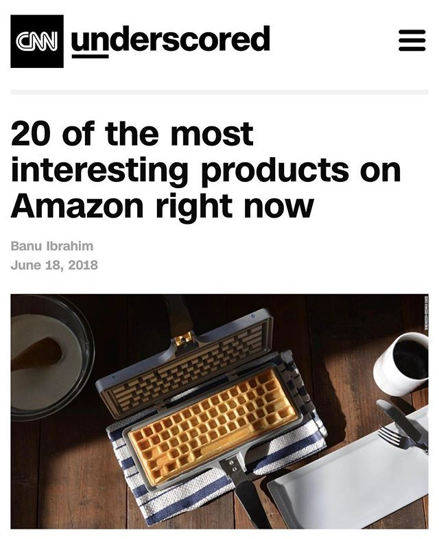 Very cool to be featured and included in this list by CNN and on the 'Interesting Finds' page of Amazon! @cnnunderscored #cnnunderscored #amazoninterestingfinds #amazonprime #keyboardwaffles #waffleiron #waffles #press #ctrlaltdelicious