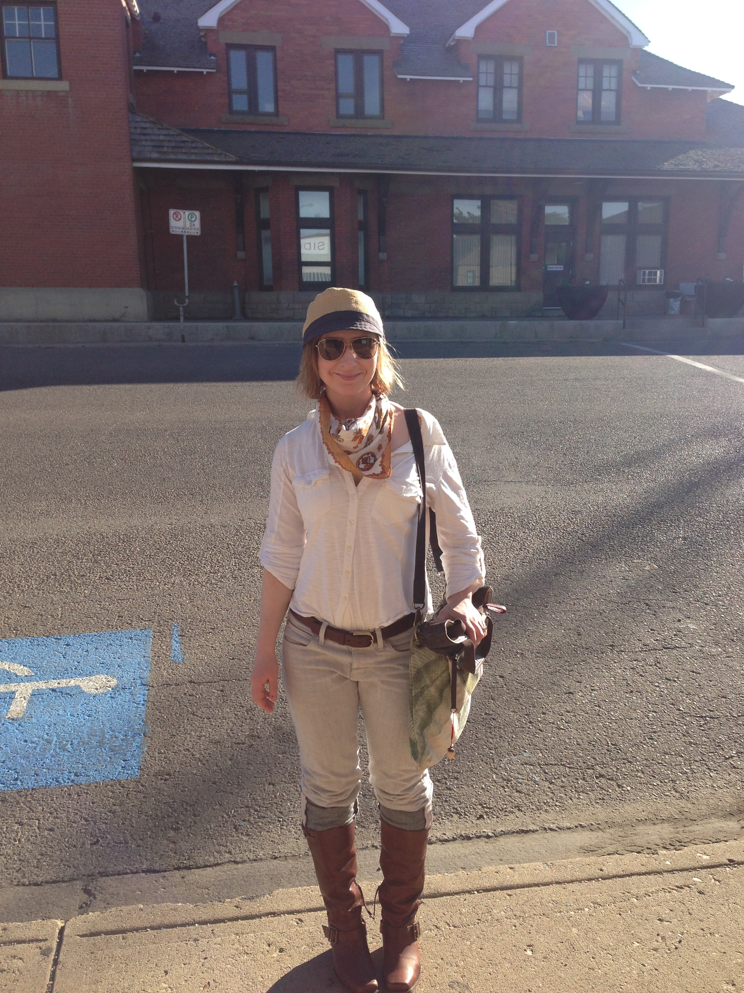 After Nelson, Medicine Hat, Alberta! With more thrift store finds (silk scarf). (Photo Alex Renwick)