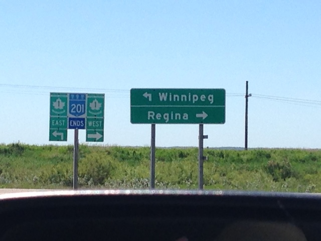 Took this photo leaning out the car window on the way to Winnipeg...gives you an idea what's in the middle of Canada.