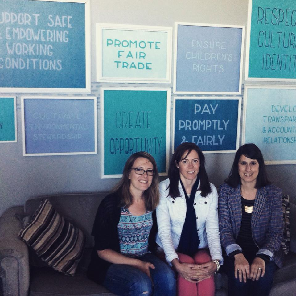 Beth, owner of Grey Rock Clothing Co., visiting with two of Mata Trader's founders at their head office in Chicago.