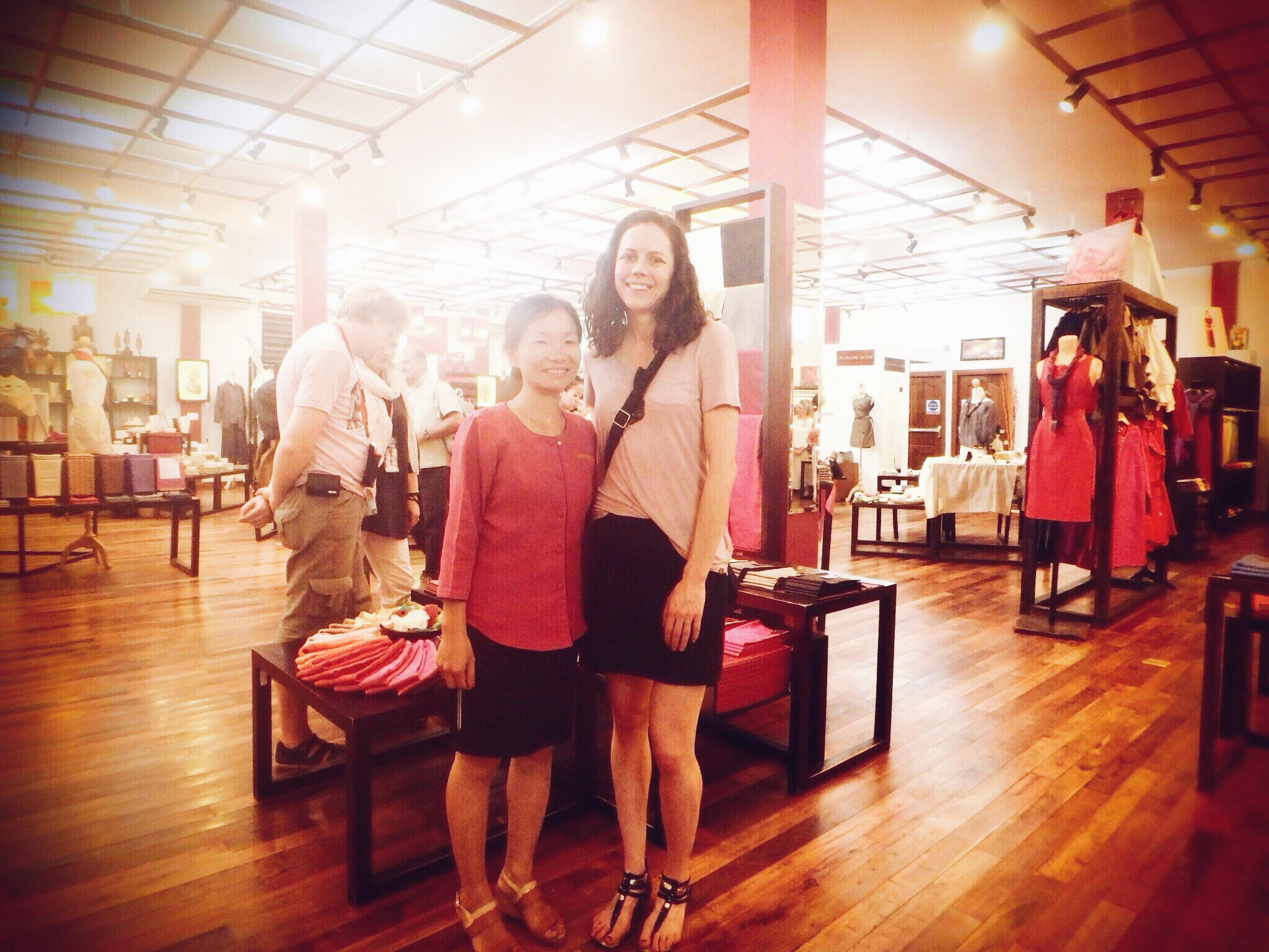 Beth with the manager of Artisan's Angkor, Sok Hour