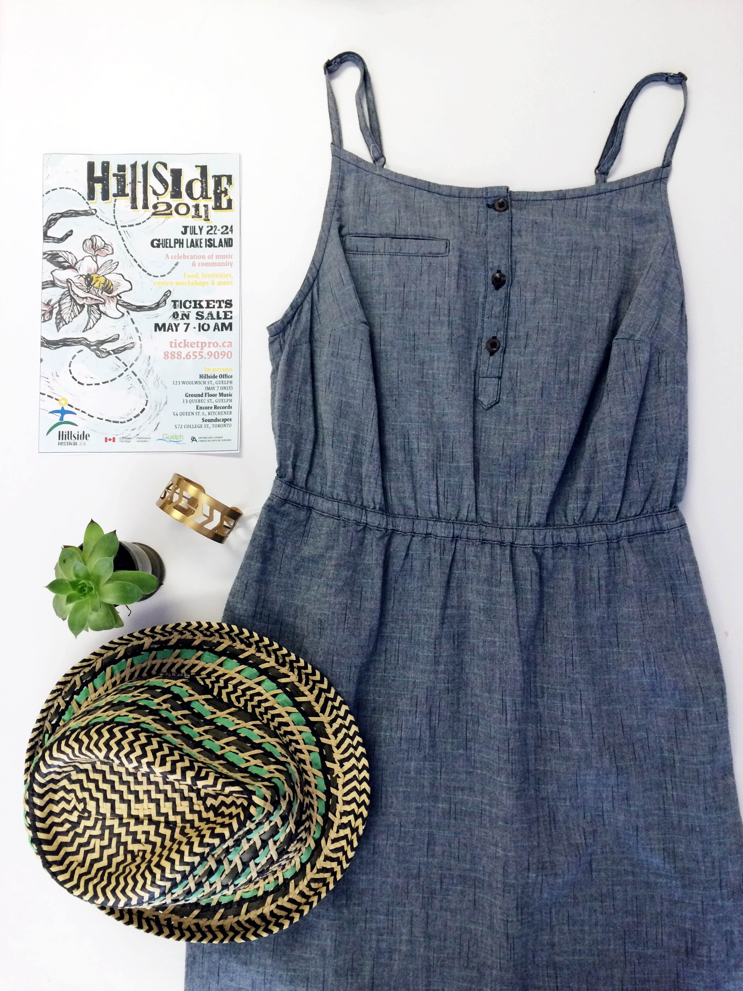 For our 2011 themed post, we've paired our poster with our Toad & Co Chambray Dress. Light and breezy, this dress is perfect for the hotter days of Hillside. For some protection from the sun, we paired it with our favourite Prana Fedora.