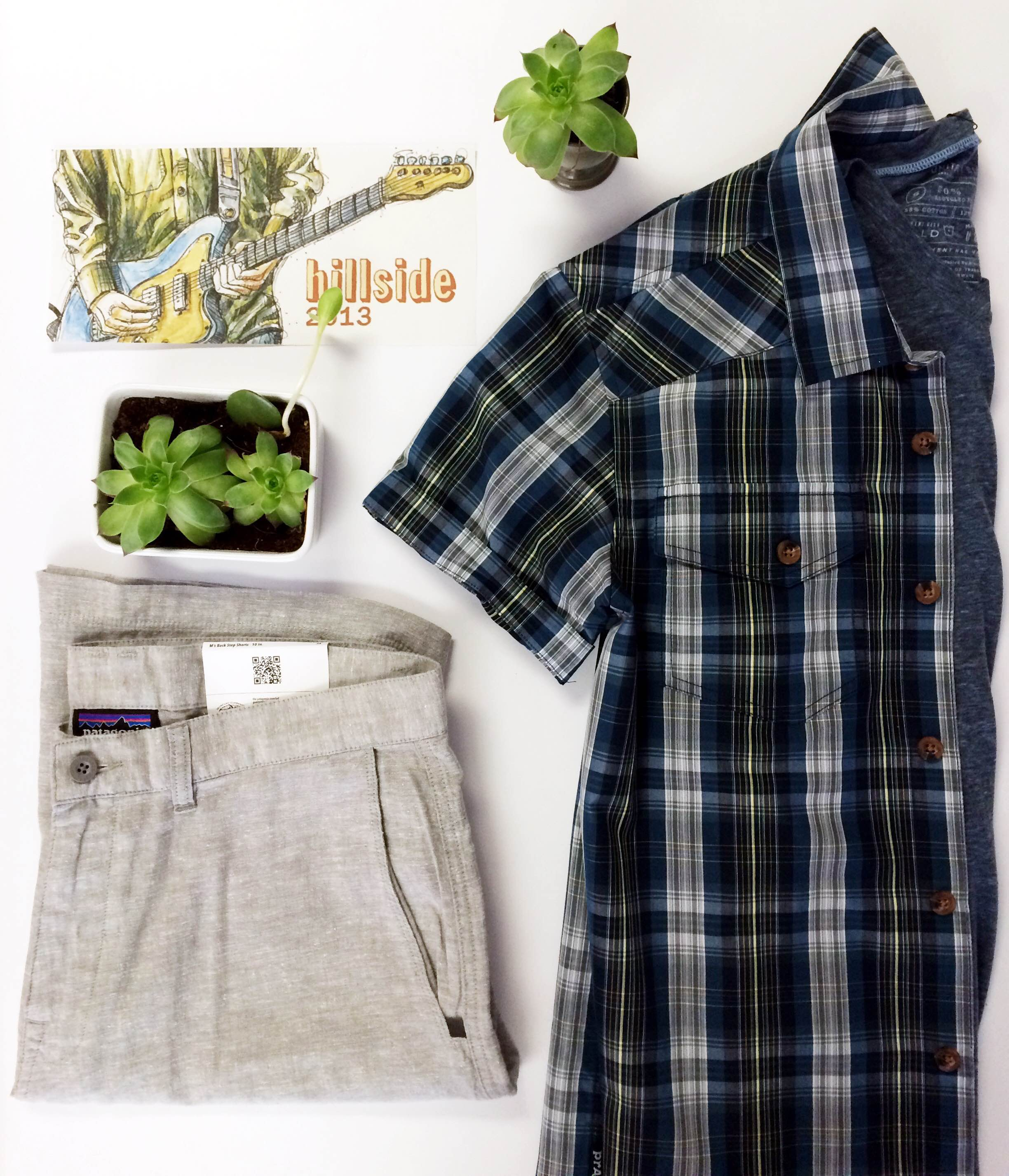 For our 2013 post, we're keeping it neutral with our Prana plaid button down and a light blue United By Blue standard v-neck tee for some coverage. Keep it breezy and cool with Patagonia's hemp and cotton shorts.
