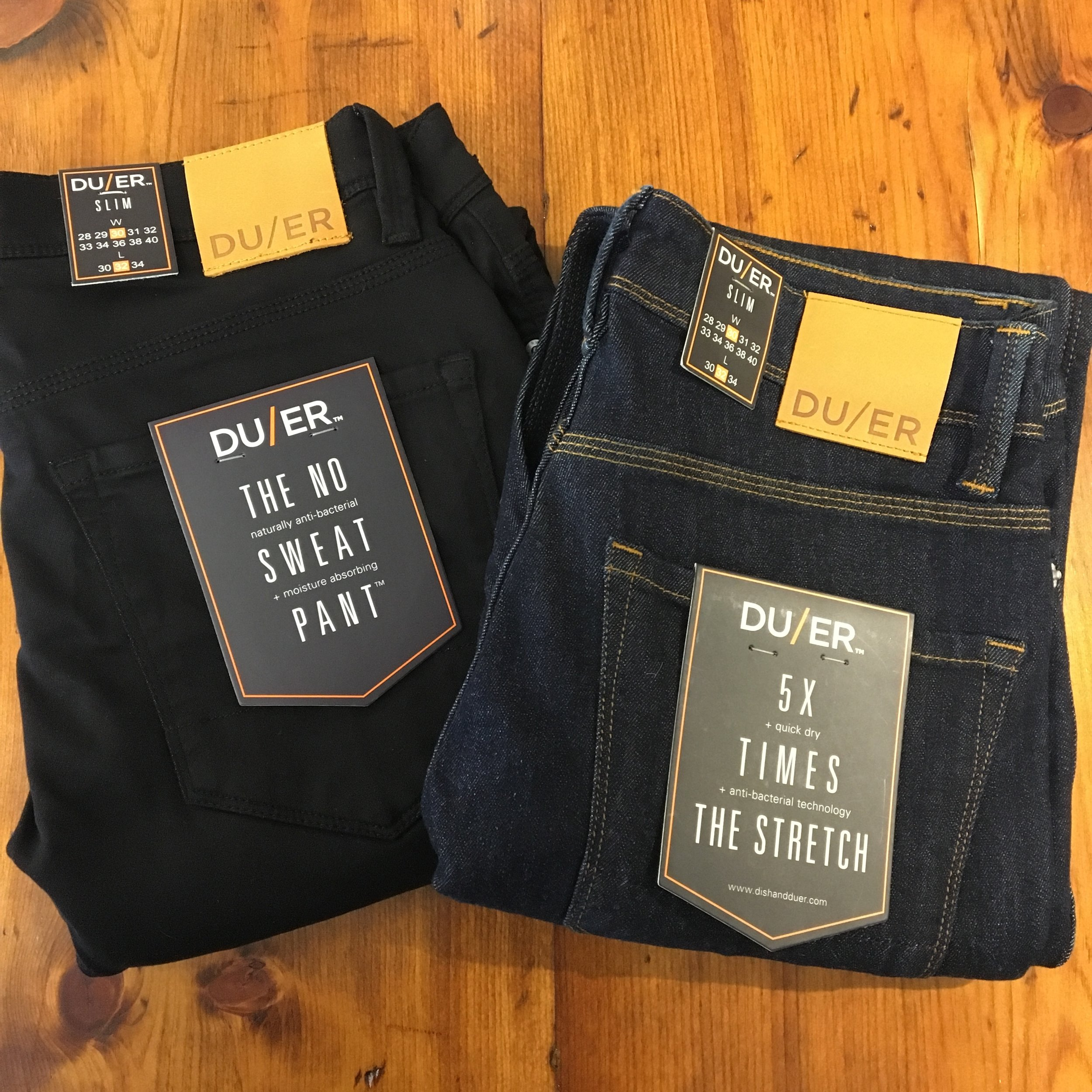 DU/ER Denim pants, No Sweat Pant in Black and L2X in Heritage Rinse