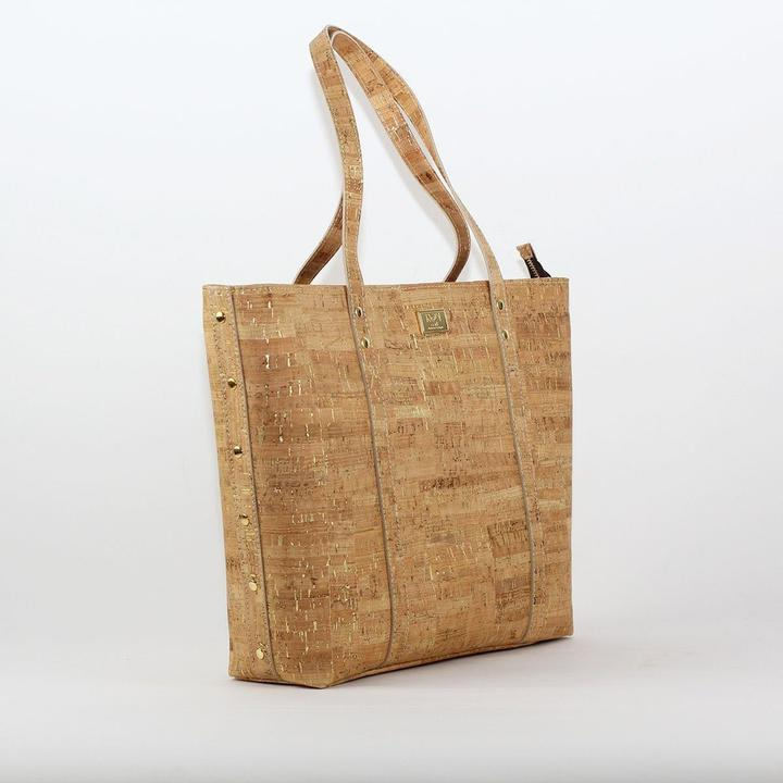 Rok Cork Carminda Tote Bag in natural gold.