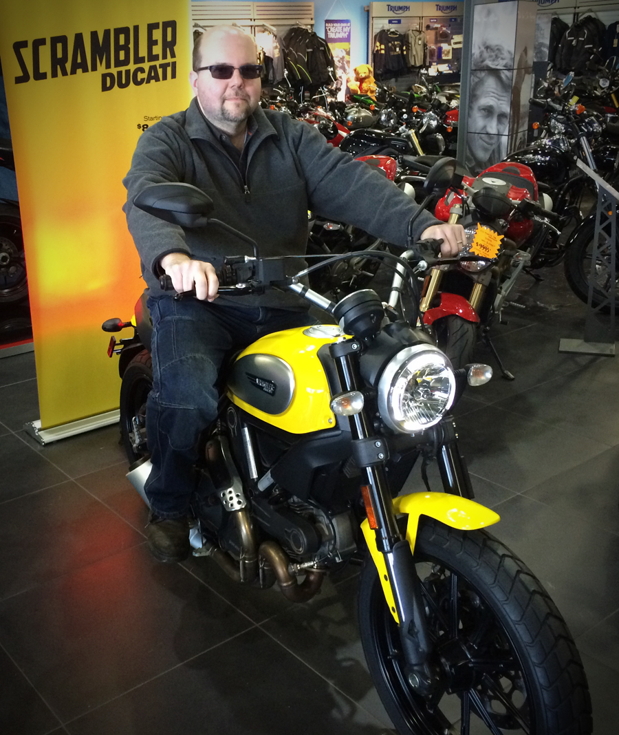 Rich finally on the Scrambler!