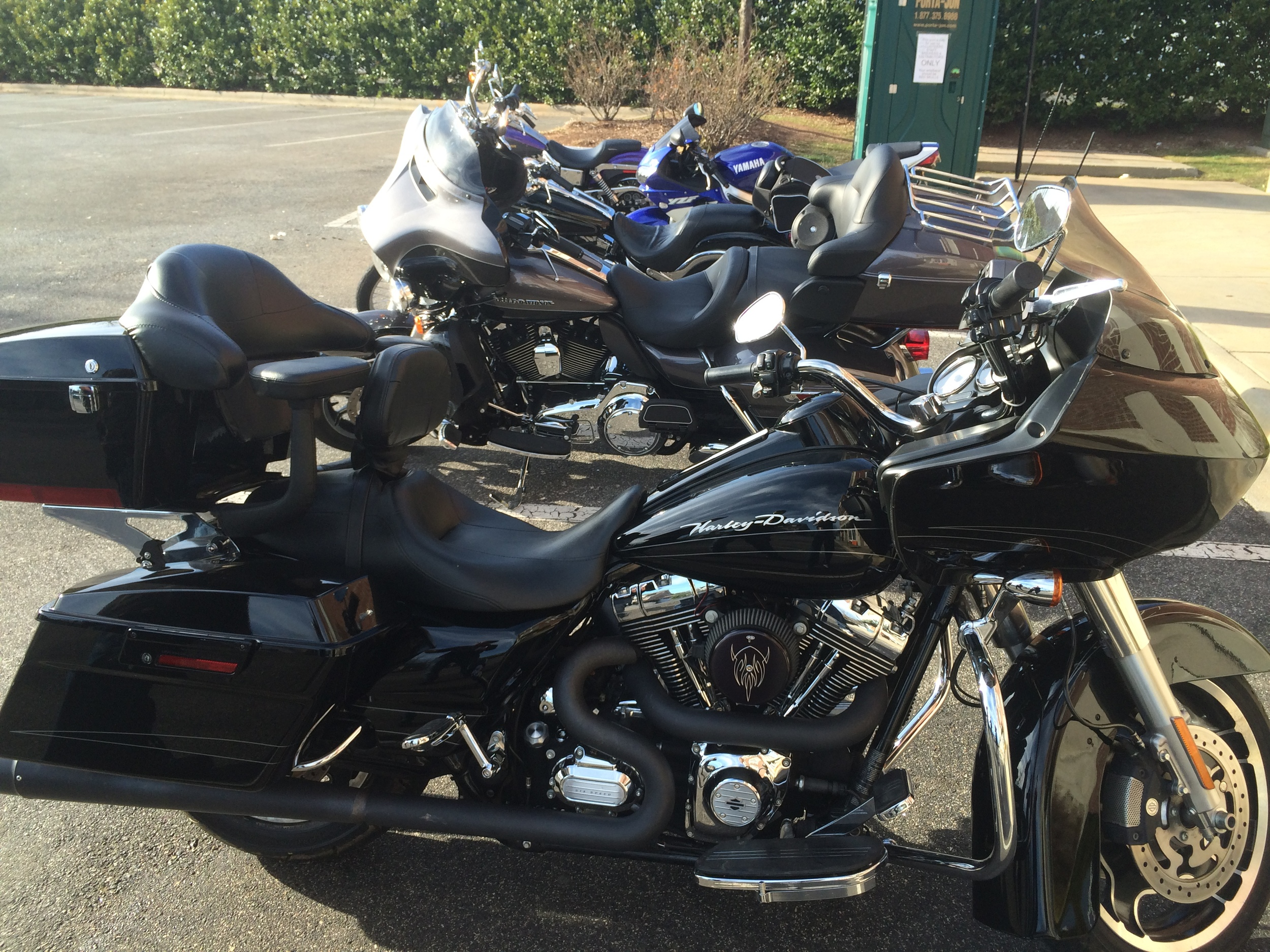 Danny Luna's  amazing sounding 2012 Harley Davidson Road Glide and all of the bikes from our ride on 3/8/2015 behind it