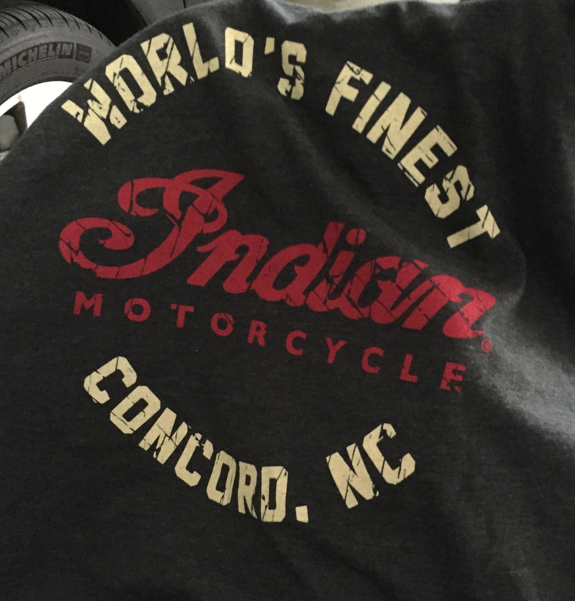 Traded in an old t-shirt for a new one from Indian Motorcycles of Concord