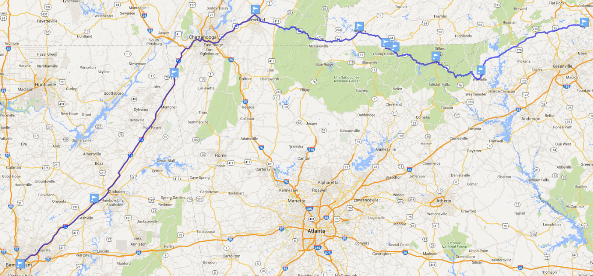 Nice route from Rico's place to Birmingham, AL