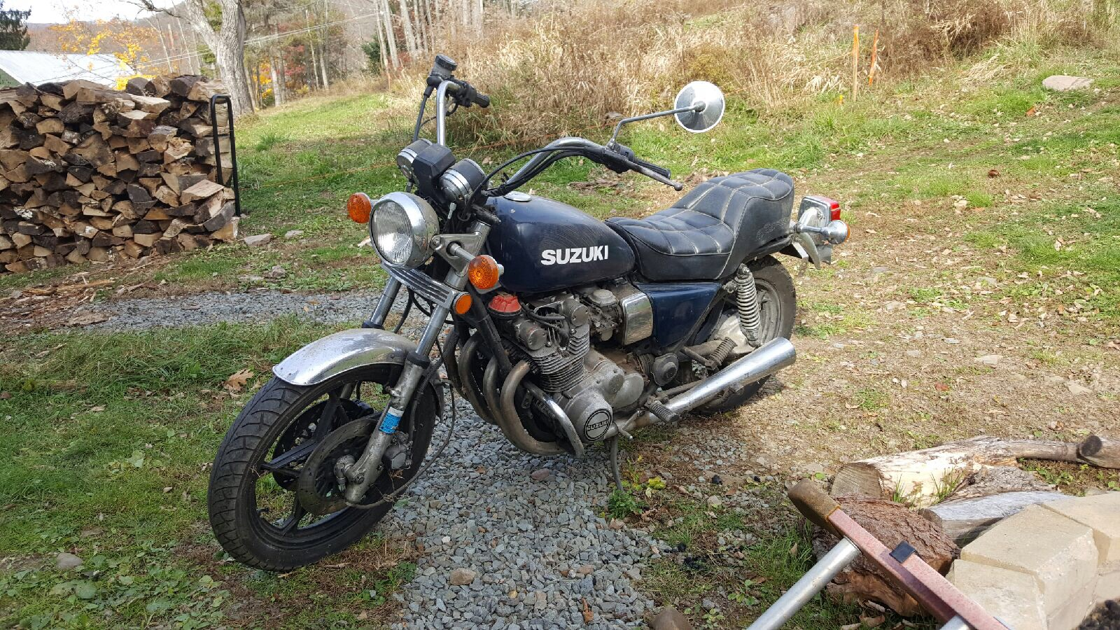 Rich's brother Kenny picked this up for $100 and it runs!  Suzuki GS 850 GL