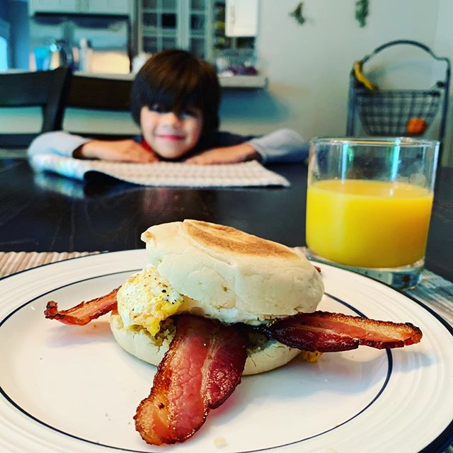 Woke up, jumped on some calls, then my son called me to the table where he prepared made me an artisan breakfast sandwich. @mfowler63 step up your game.