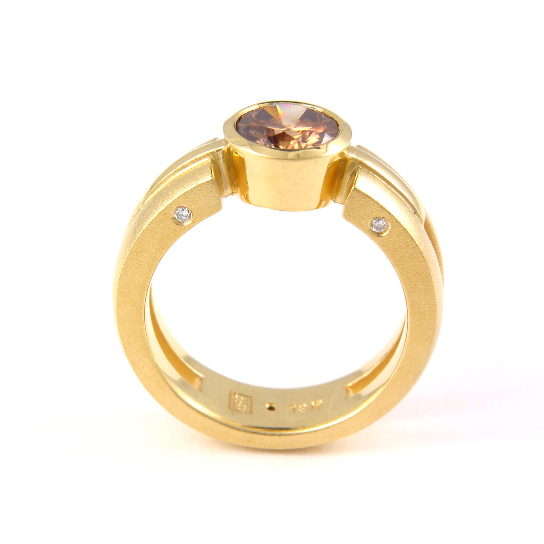 "18k gold ring ""Millennium"" with cognac diamond by Pratima Design Fine Art Jewelry"