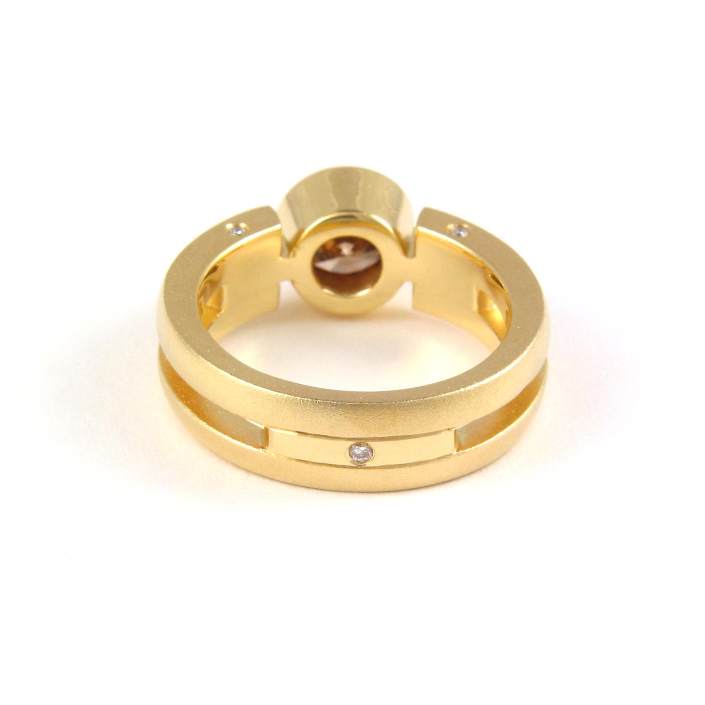 "Unique 18k gold ring ""Millennium"" with cognac diamond by Pratima Design Fine Art Jewelry"