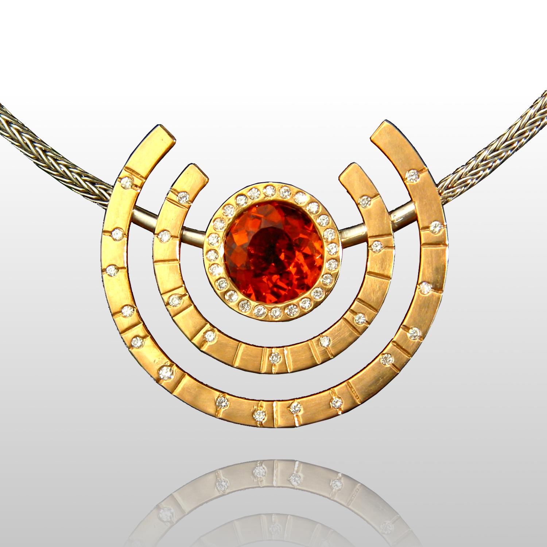 One-of-a-Kind Necklace 'Day and Night' - Platinum, 18k Peach Gold, Mandarin Garnet, Diamonds by Pratima Design Fine Art Jewelry