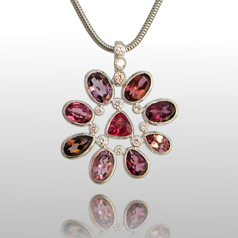 Pink Tourmaline Necklace 'Kaleidoscope' in 18k White Gold with Diamonds by Pratima Design Fine Art Jewelry