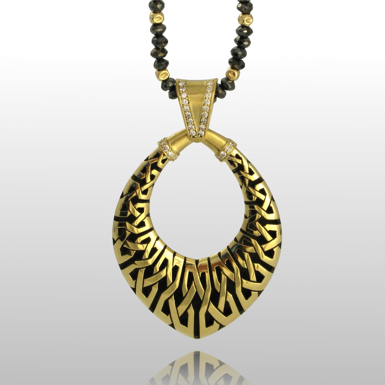 Black Diamond Bead Necklace 'Kapa' in 18k gold by Pratima Design Fine Art Jewelry