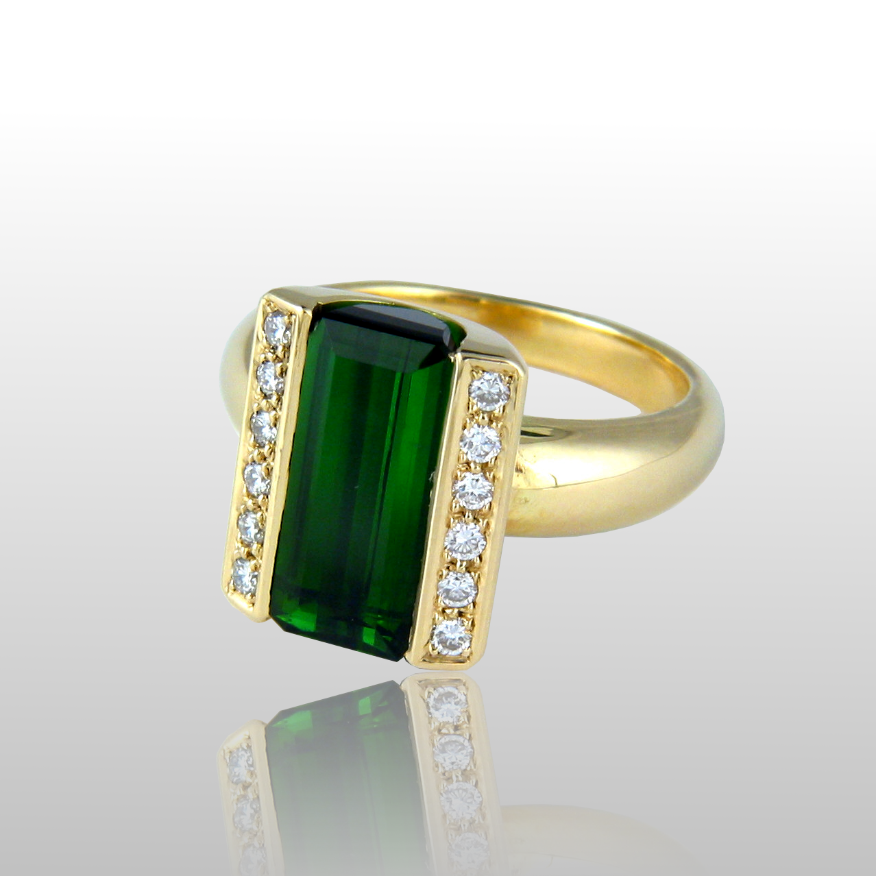 One-of-a-Kind 18k Gold Ring with Green Tourmaline and Diamonds by Pratima Design Fine Art Jewelry