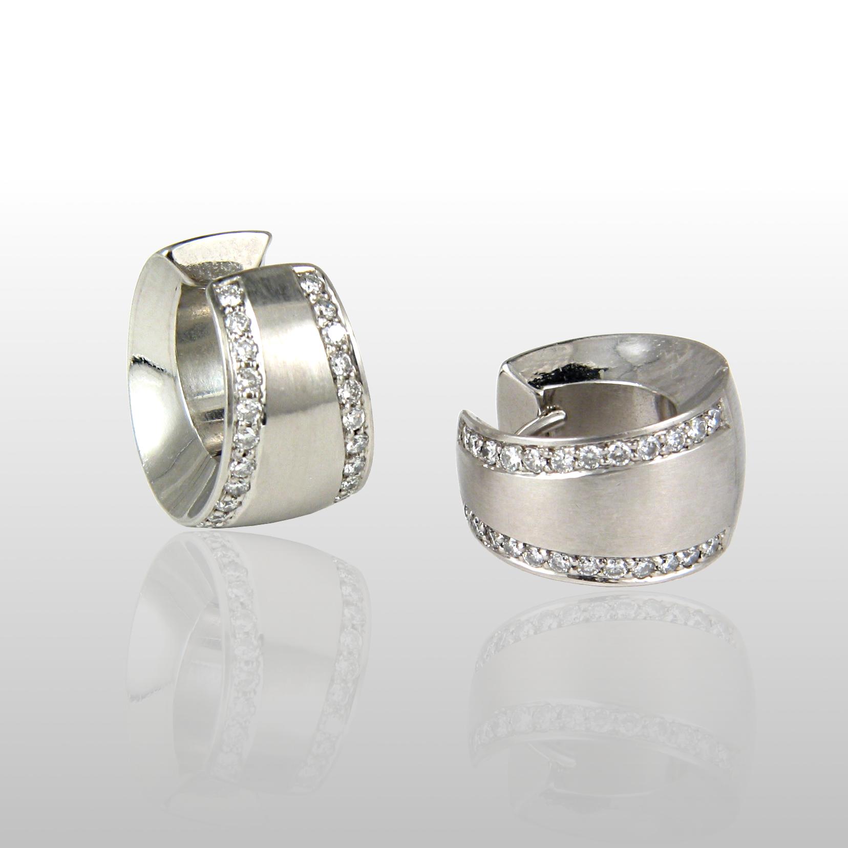 Contemporary Platinum Diamond Pavé Hinged Hoops with44 Diamonds by Pratima Design Fine Art Jewelry Maui