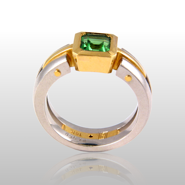 Contemporary platinum and 18k gold ring 'Millennium' with tsavorite by Pratima Design Fine Art Jewelry