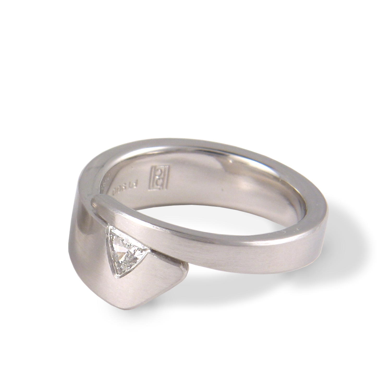 Contemporary engagement ring/wedding band 'Duo' in platinum with diamond trillion by Pratima Design Fine Art Jewelry