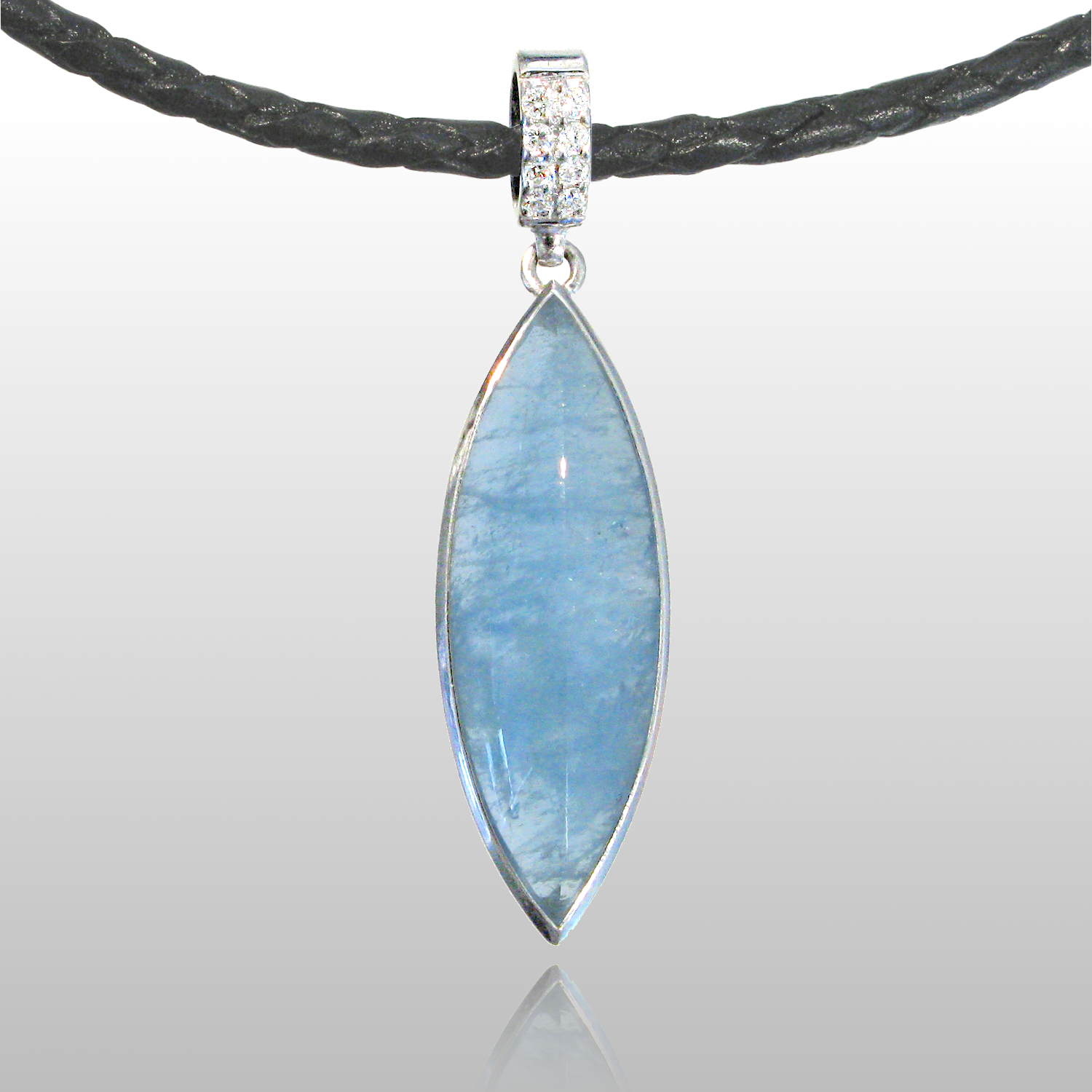 Aquamarine Pendant with Diamonds in 18k White Gold from the Spectrum Collection by Pratima Design Fine Art Jewelry