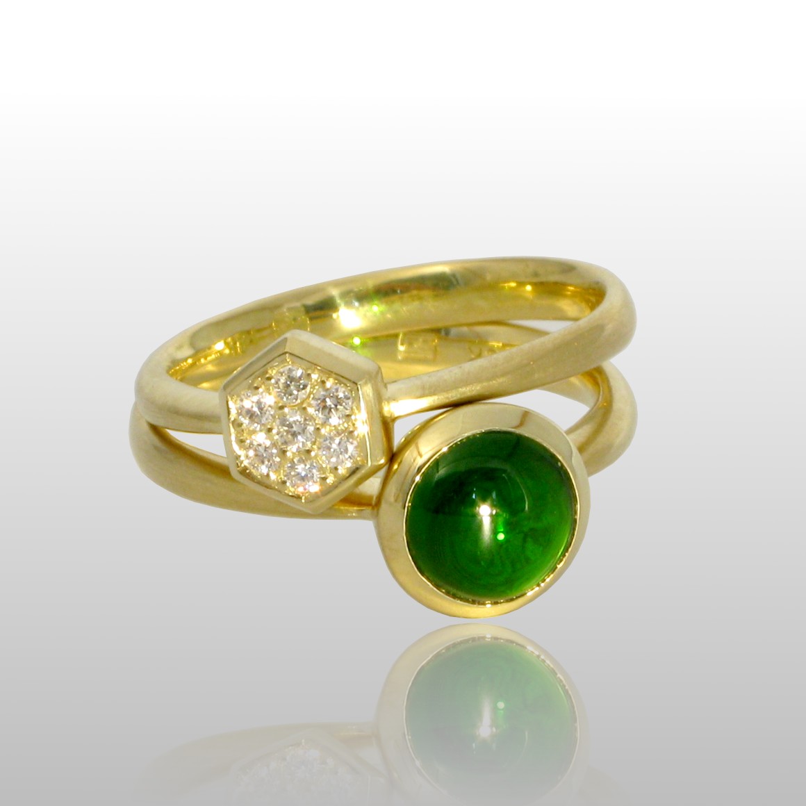 Stackable designer rings in 18k gold 'Stax' with diamond pavé and chrom diopside by Pratima Design Fine Art Jewelry