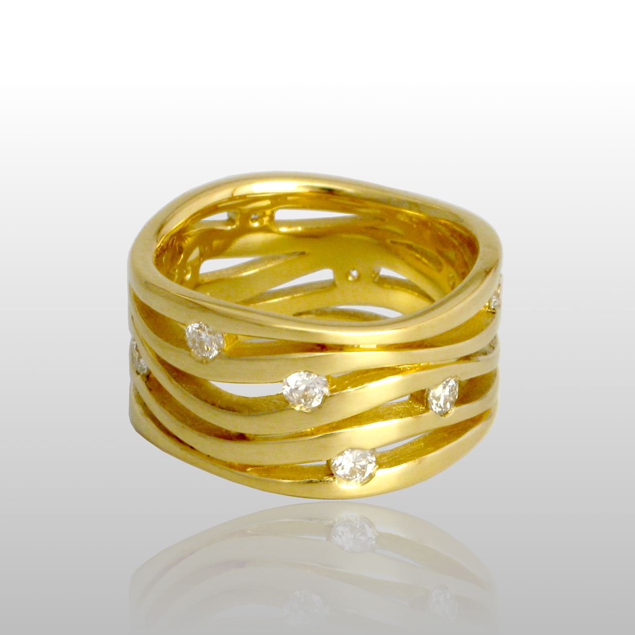 'Lamello' - contemporary wave ring in 18k gold with 12 diamonds .75ct t.w. by Pratima Design Fine Art Jewelry