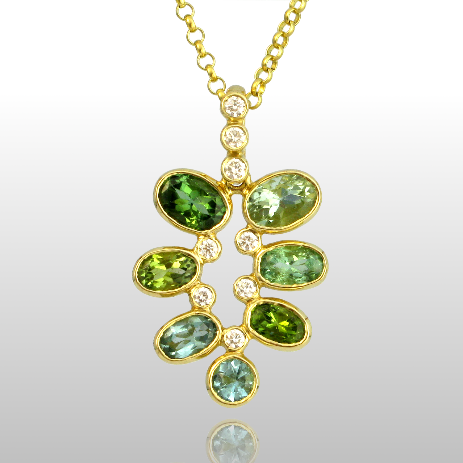 Pendant 'Kaleidoscope' in 18k Gold with Green Tourmalines and Diamonds by Pratima Design Fine Art Jewelry