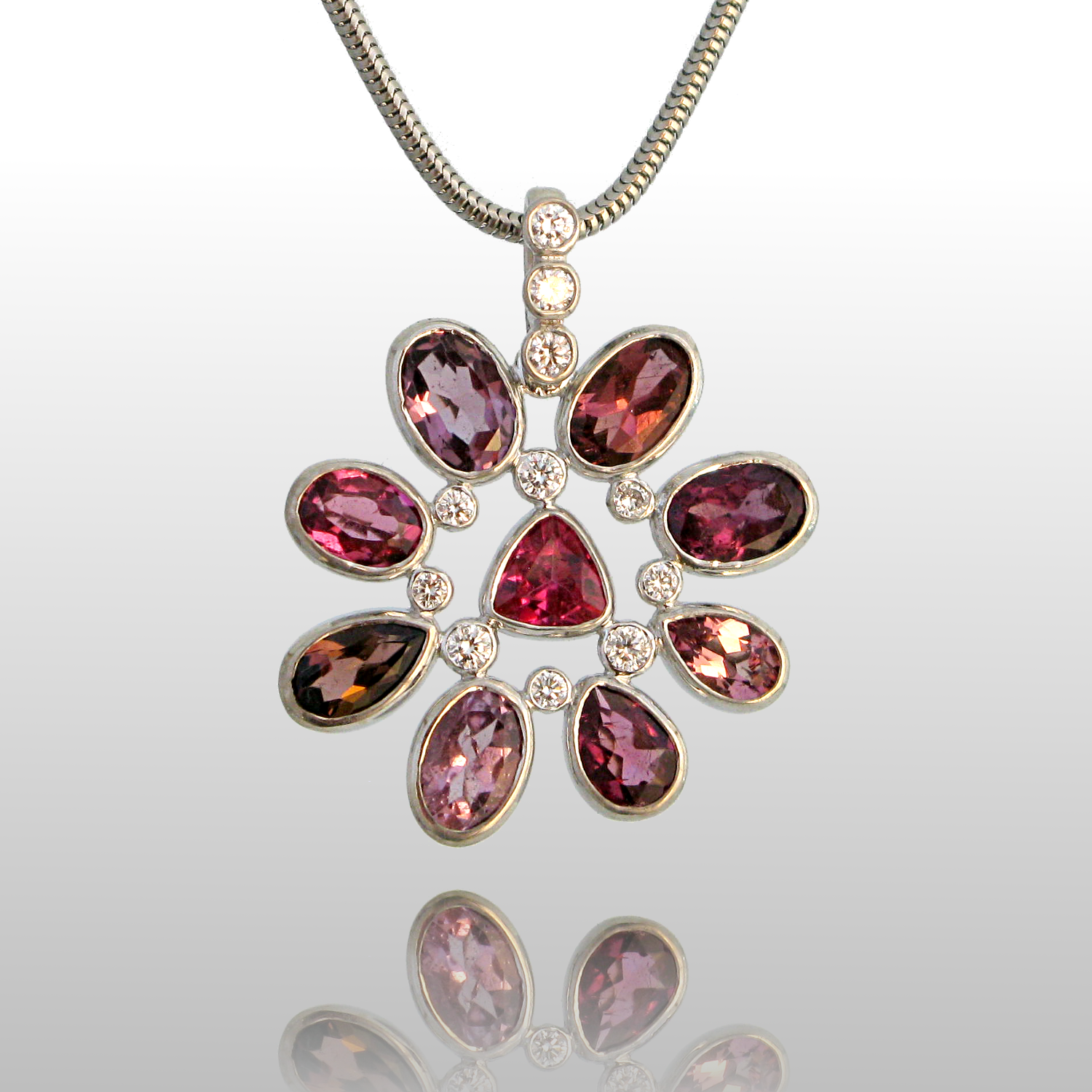 Pink Tourmaline Necklace 'Kaleidoscope' in 18k White Gold with Diamonds by Pratima Design Fine Art Jewelry