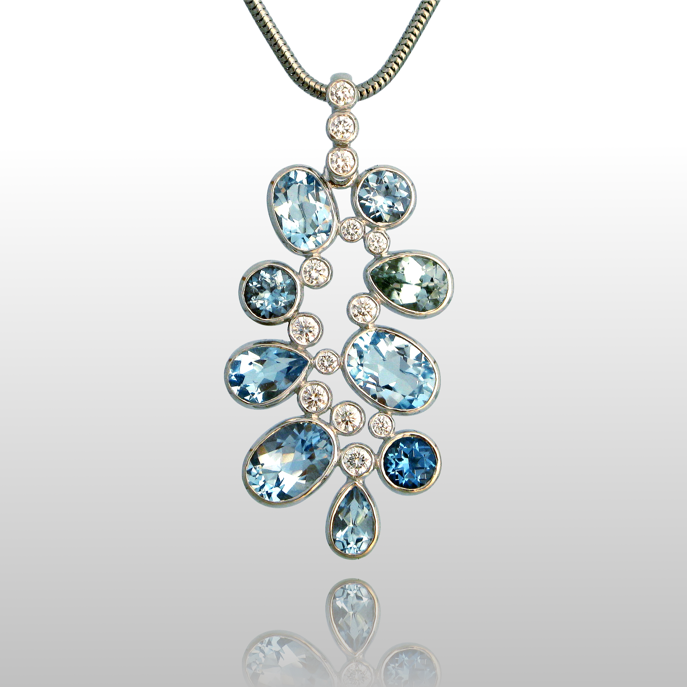 Diamond, Topaz and Zircon Necklace 'Kaleidoscope' in 18k White Gold, one-of-a-kind by Pratima Design Fine Art Jewelry