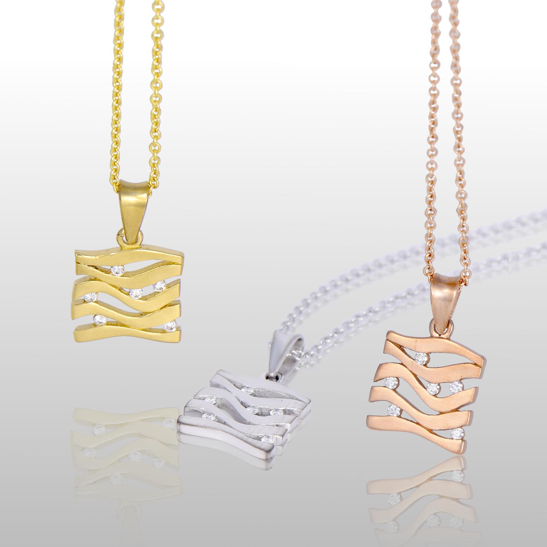 Wave Pendant 'Lamello' in 18k Gold or Platinum with Diamonds by Pratima Design Fine Art Jewelry