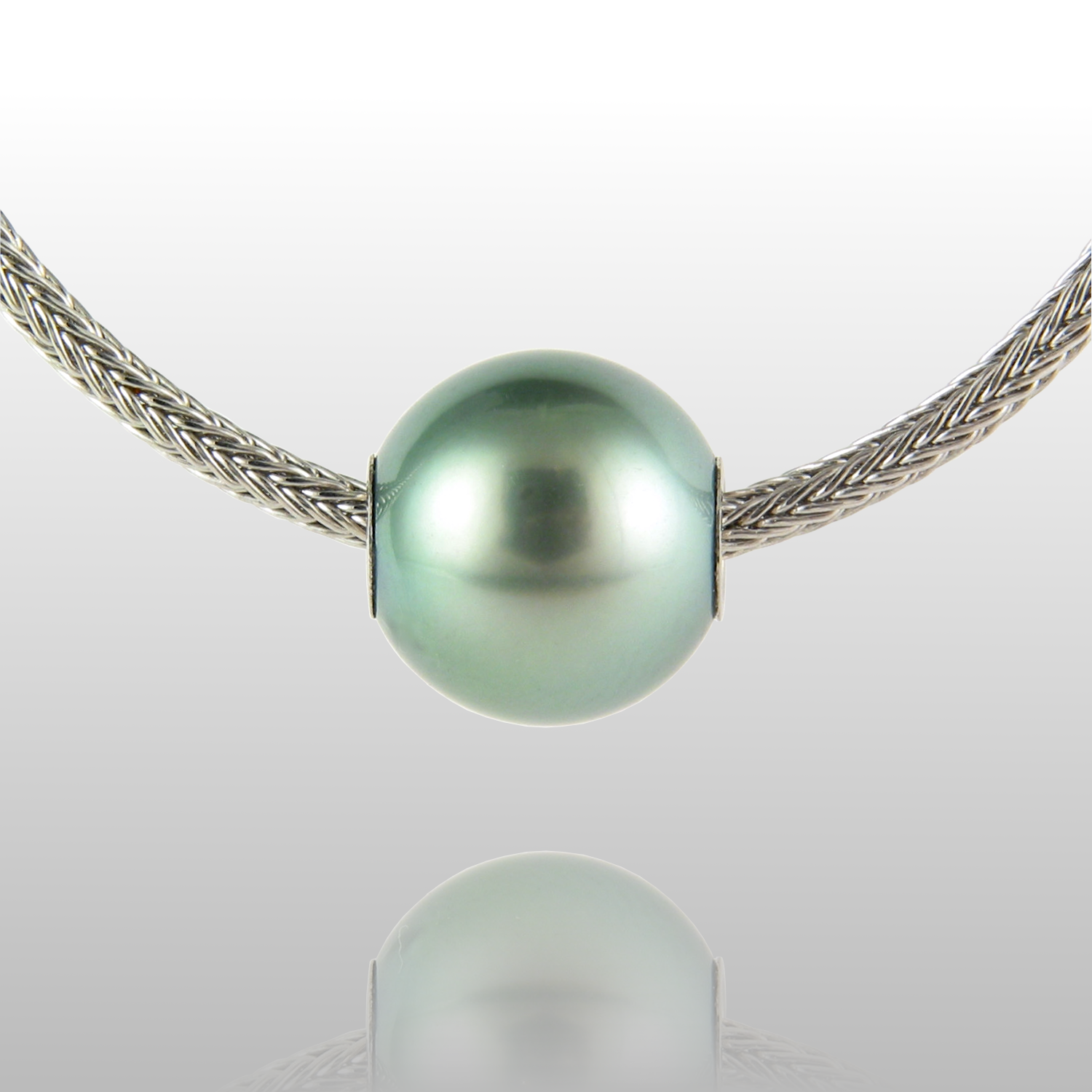 Tahitian Pearl Solitaire Necklace - Hand woven Platinum Chain by Pratima Design Fine Art Jewelry
