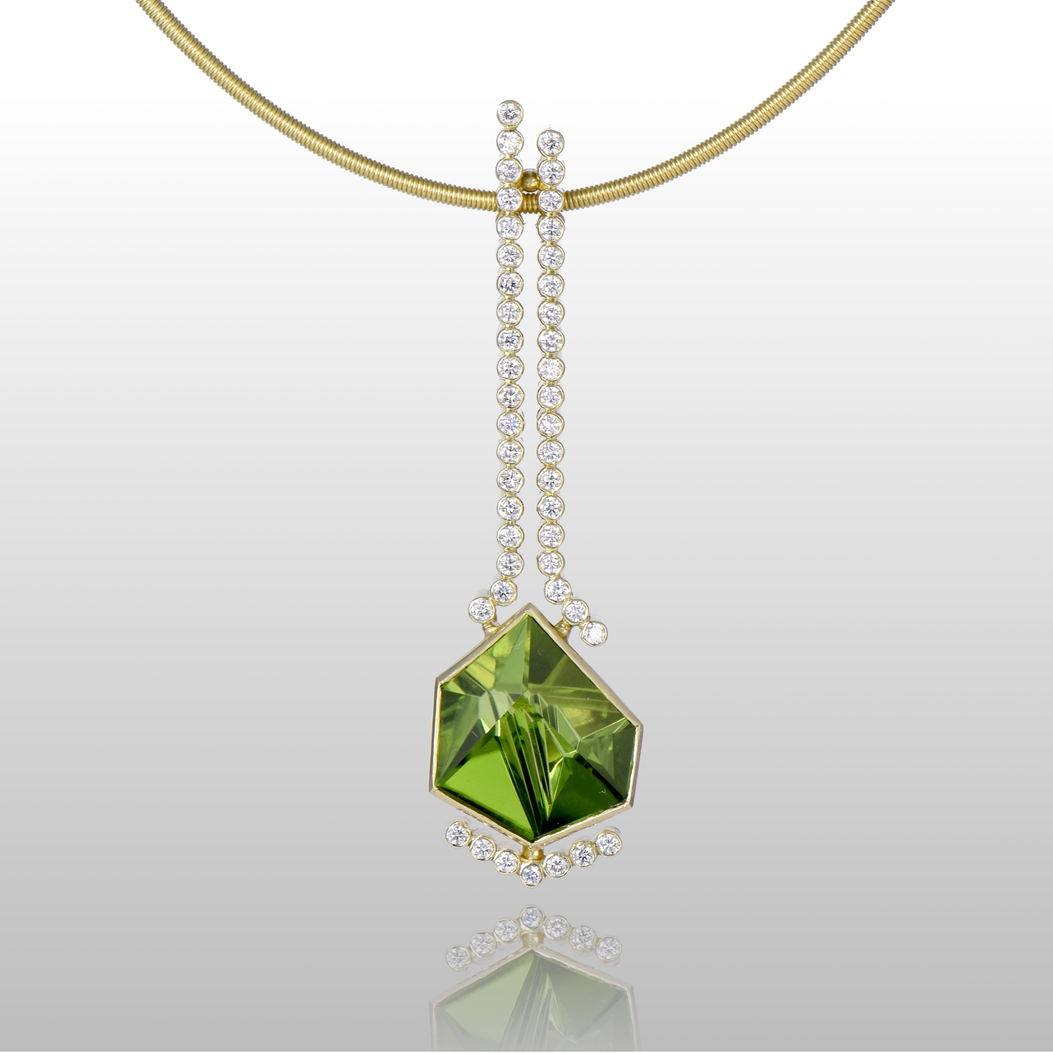Contemporary Necklace in 18k Gold with a Peridot (5.33cts), cut by Tom Munsteiner and 45 diamonds by Pratima Design Fine Art Jewelry Maui
