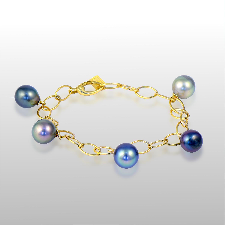 Tahitian South Sea Black Pearl Charm Bracelet in 18k Gold by Pratima Design Fine Art Jewelry