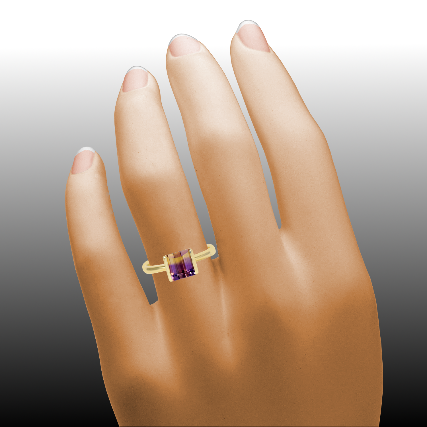 Contemporary Solitaire Ring with Designer Cut Ametrine in 18k Gold by Pratima Design Fine Art Jewelry