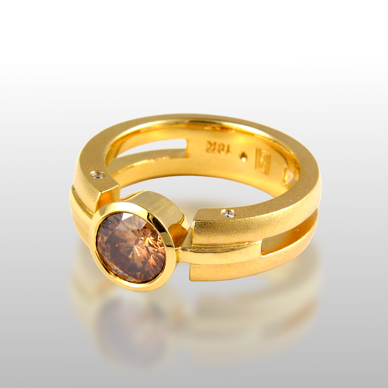 "Contemporary 18k gold ring ""Millennium"" with cognac diamond by Pratima Design Fine Art Jewelry"