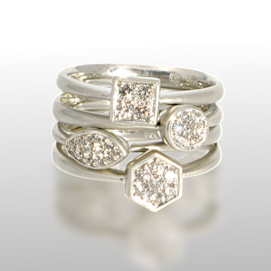 Stackable designer rings 'Stax' in platinum or 18k white gold with diamond pavé by Pratima Design Fine Art Jewelry