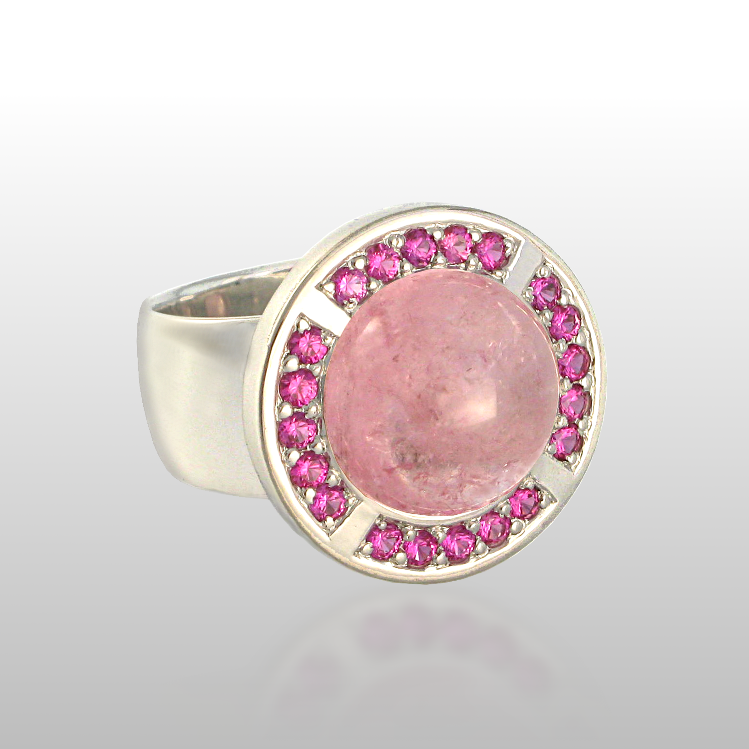 "Contemporary 18k white gold ring ""Orbit"" with tourmaline and pink sapphires by Pratima Design Fine Art Jewelry"