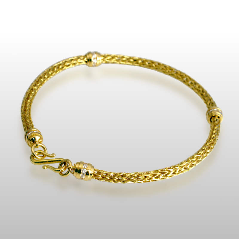 Stackable Bracelet Hand Woven in 18k Gold, 22k Gold or Platinum with Diamond Clasp and Slides by Pratima Design Fine Art Jewelry
