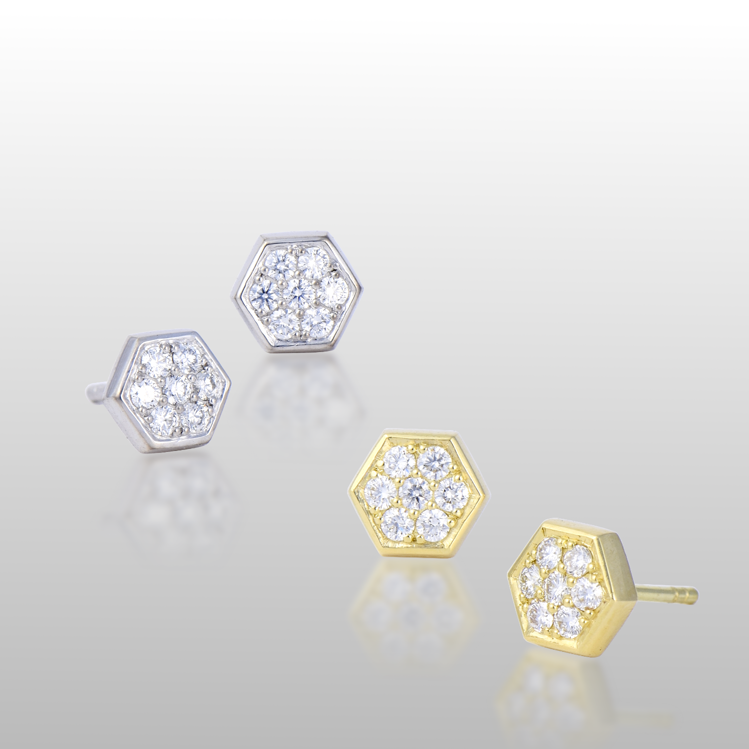 Hexagon Diamond Pave Ear Studs in 18k Gold or Platinum by Pratima Design Fine Art Jewelry Maui