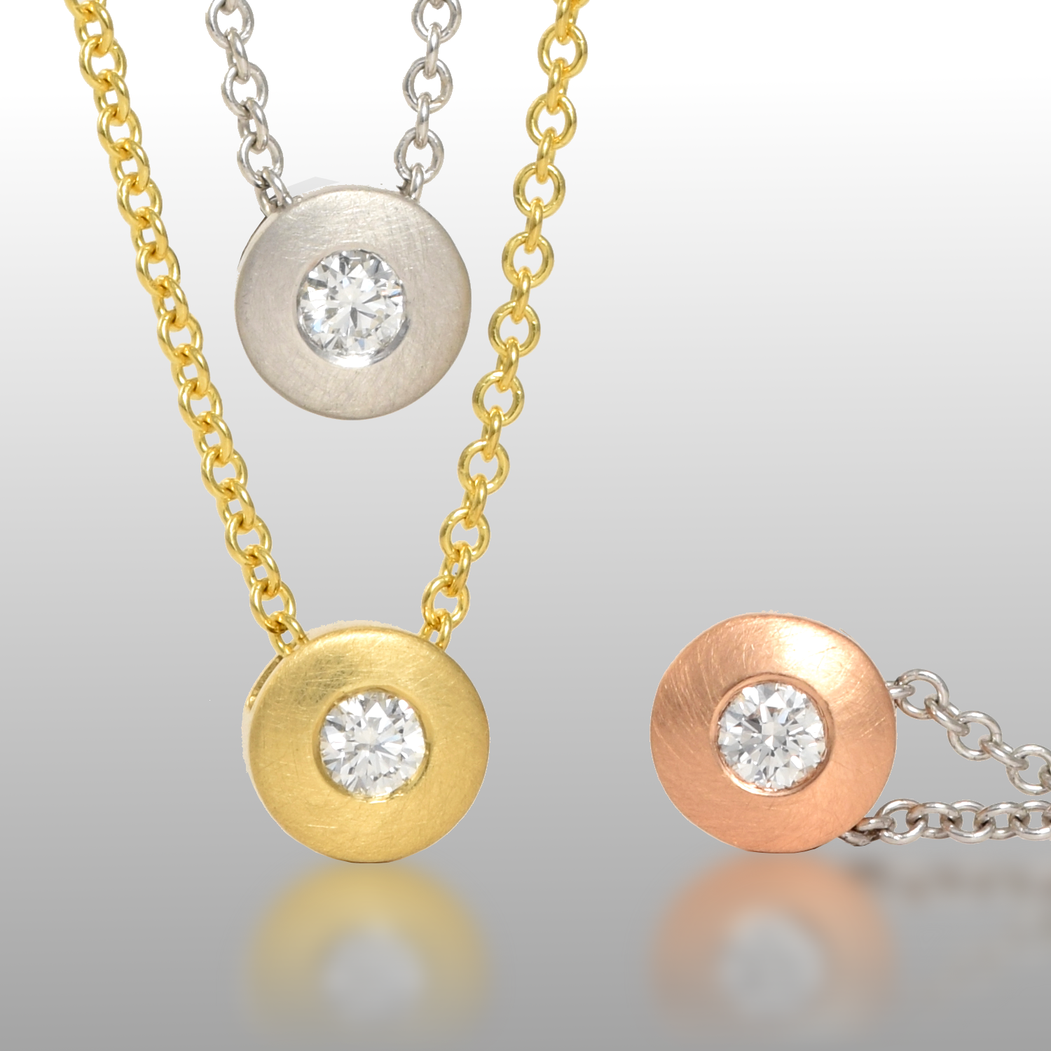 Petite Diamond Solitaire Necklace in 18k Yellow, Rose or White Gold or Platinum by Pratima Design Fine Art Jewelry Maui