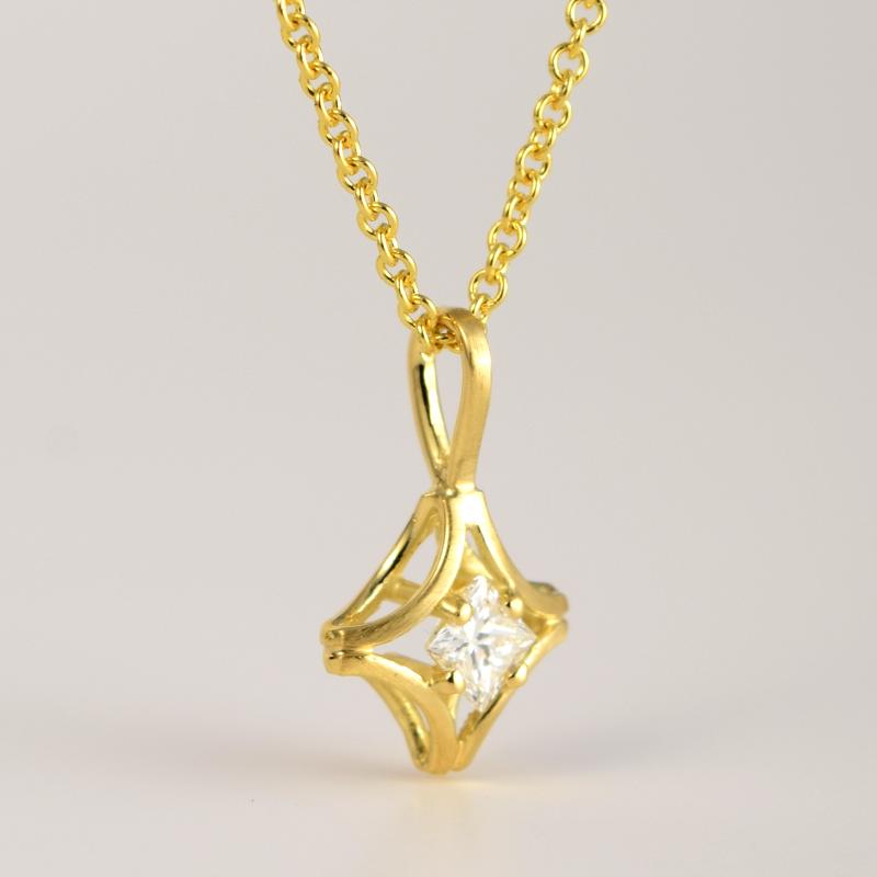 Princess Cut Diamond Solitaire Pendant 'KARO' in 18k Yellow, Rose or White Gold and Platinum by Pratima Design Fine Art Jewelry Maui