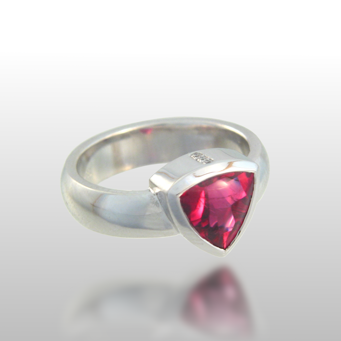 Contemporary Rubellite Ring in 18k White Gold with Diamonds from the 'Spectrum' Collection by Pratima Design Fine Art Jewelry